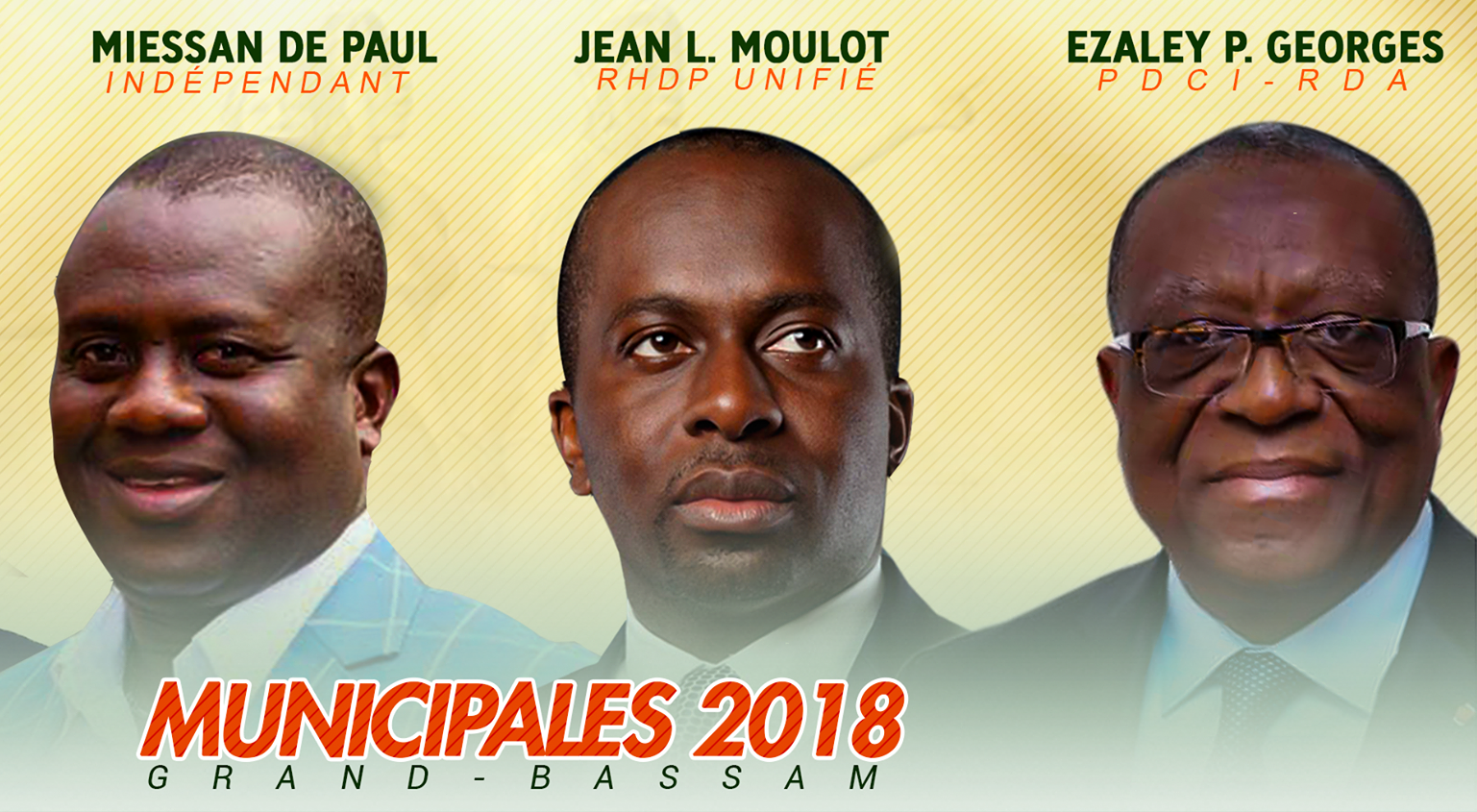 election municipale partielle,grand bassam,George Philippe Ezaley,Jean Louis Moulot,Vincent de Paul Miessan