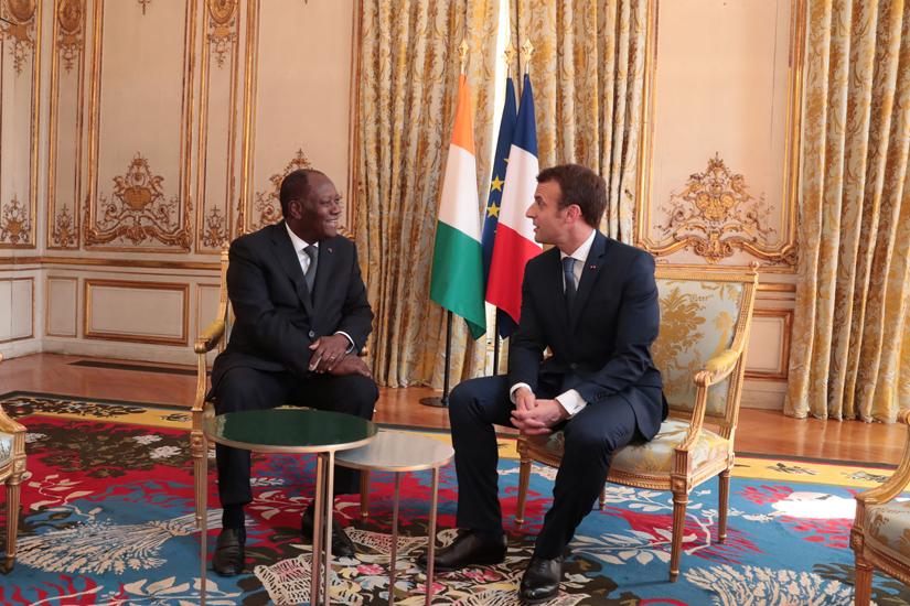 Alassane Ouattara,Macron,Elysée,Côte d'Ivoire,français