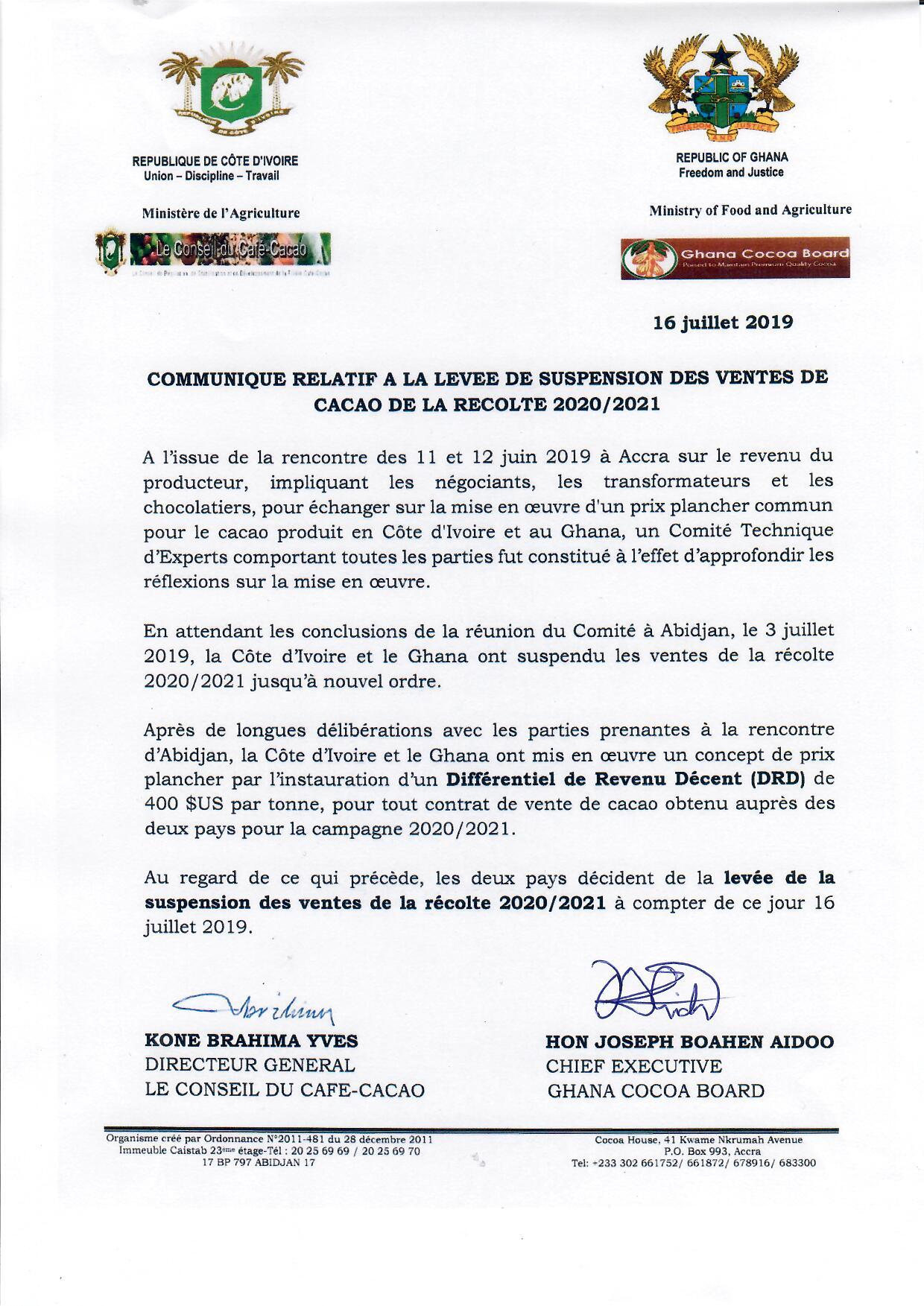 Cacao,Côte d'Ivoire,Ghana,suspension
