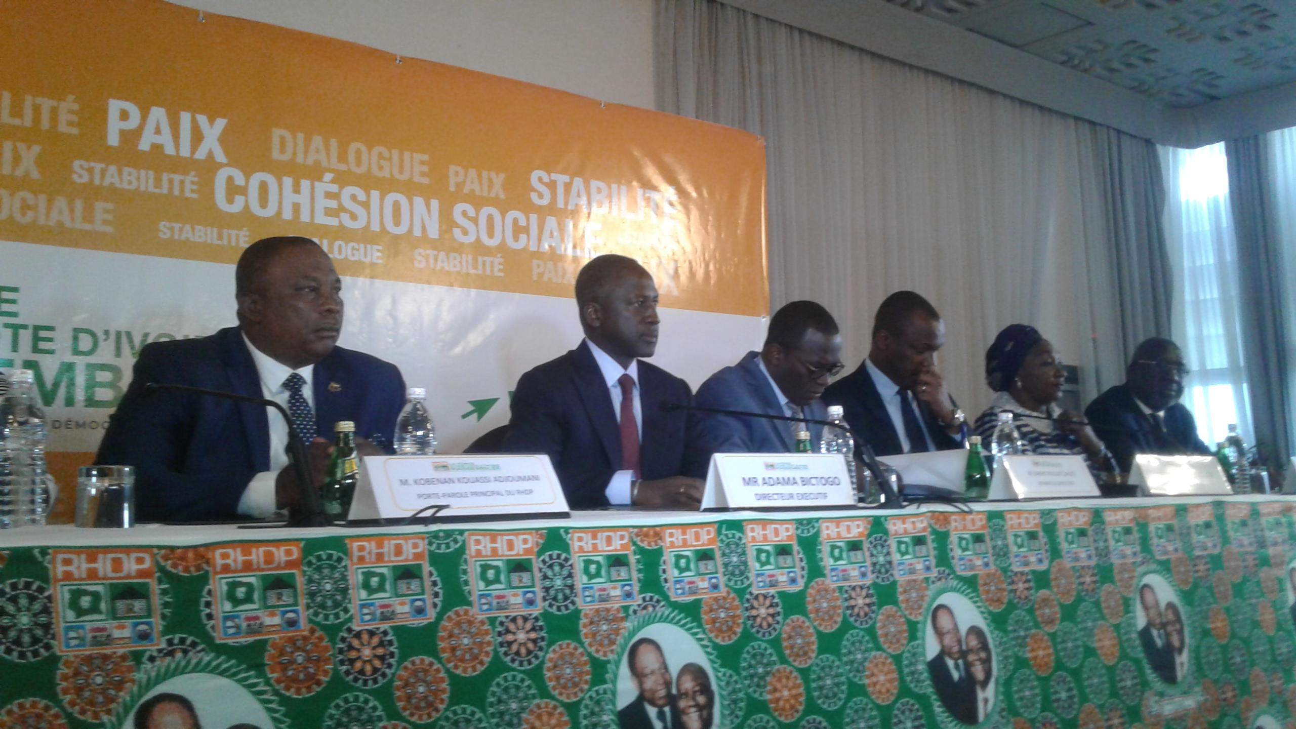 Conférence de presse du RHDP,Adama Bictogo