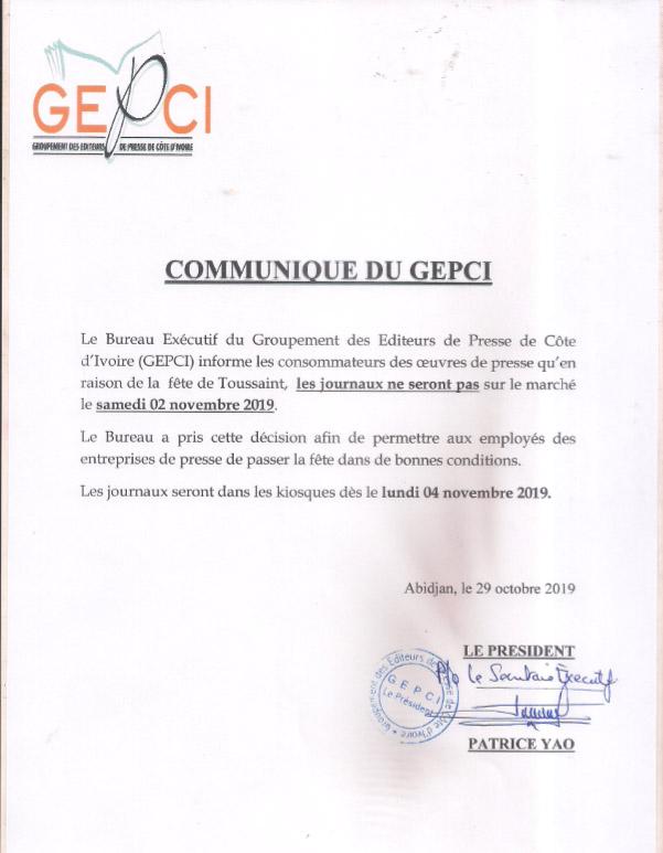 Groupement des éditeurs de presse de Côte d'Ivoire,GEPCI,journaux,Presse