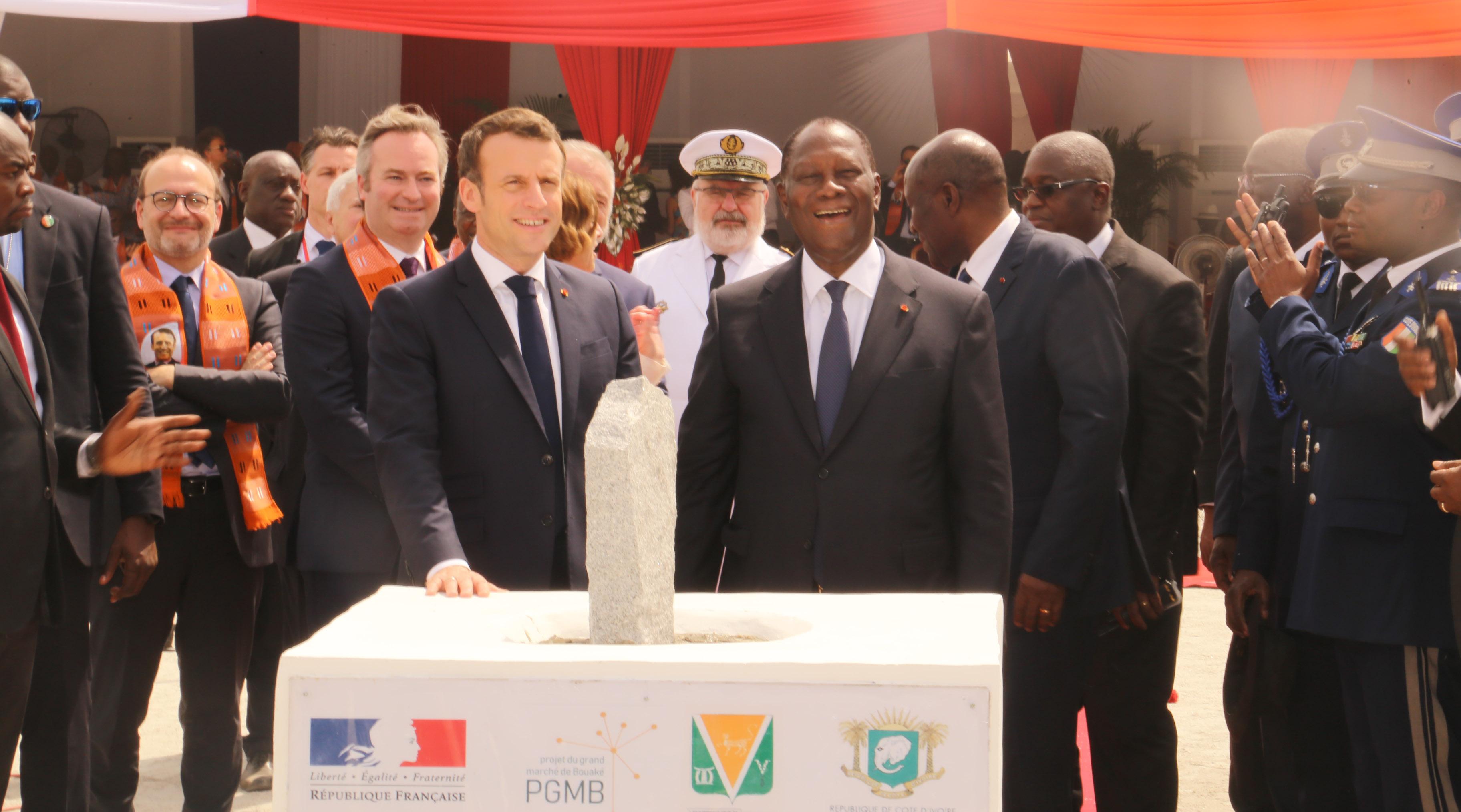 Macron,Ouattara,pose 1ère pierre,Bouaké,grand marché,visite d'État