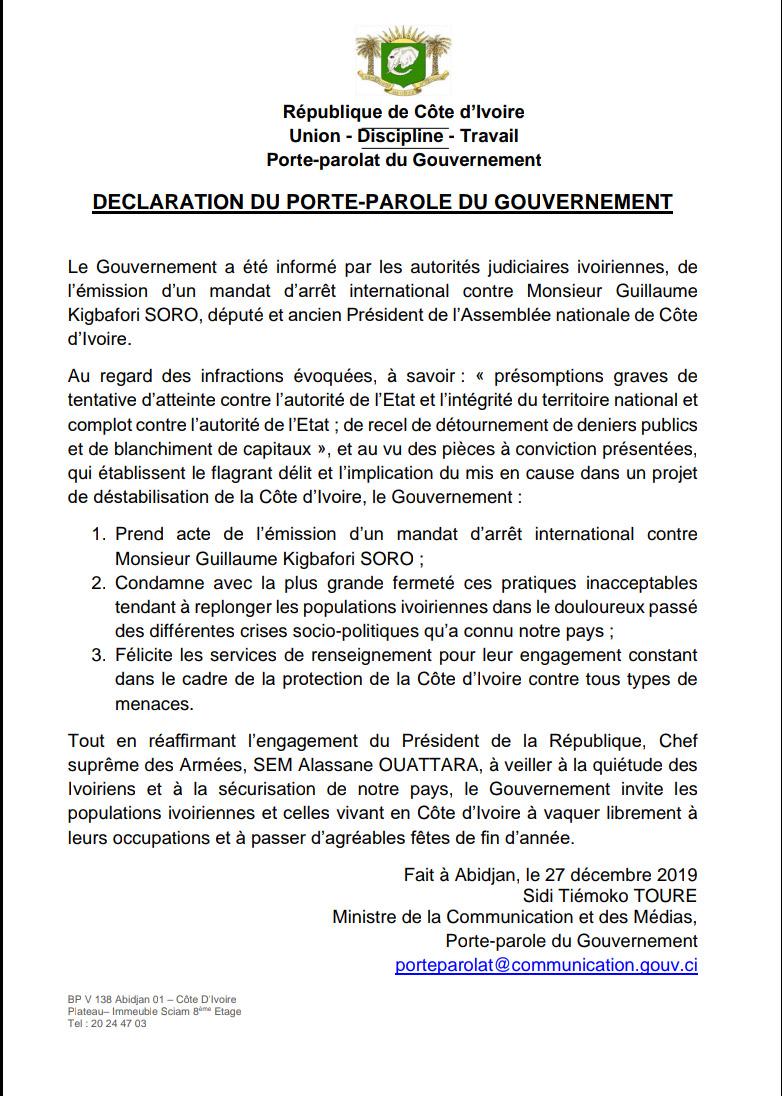 gouvernement,Guillaume Soro,Mandat d'arrêt,déclaration
