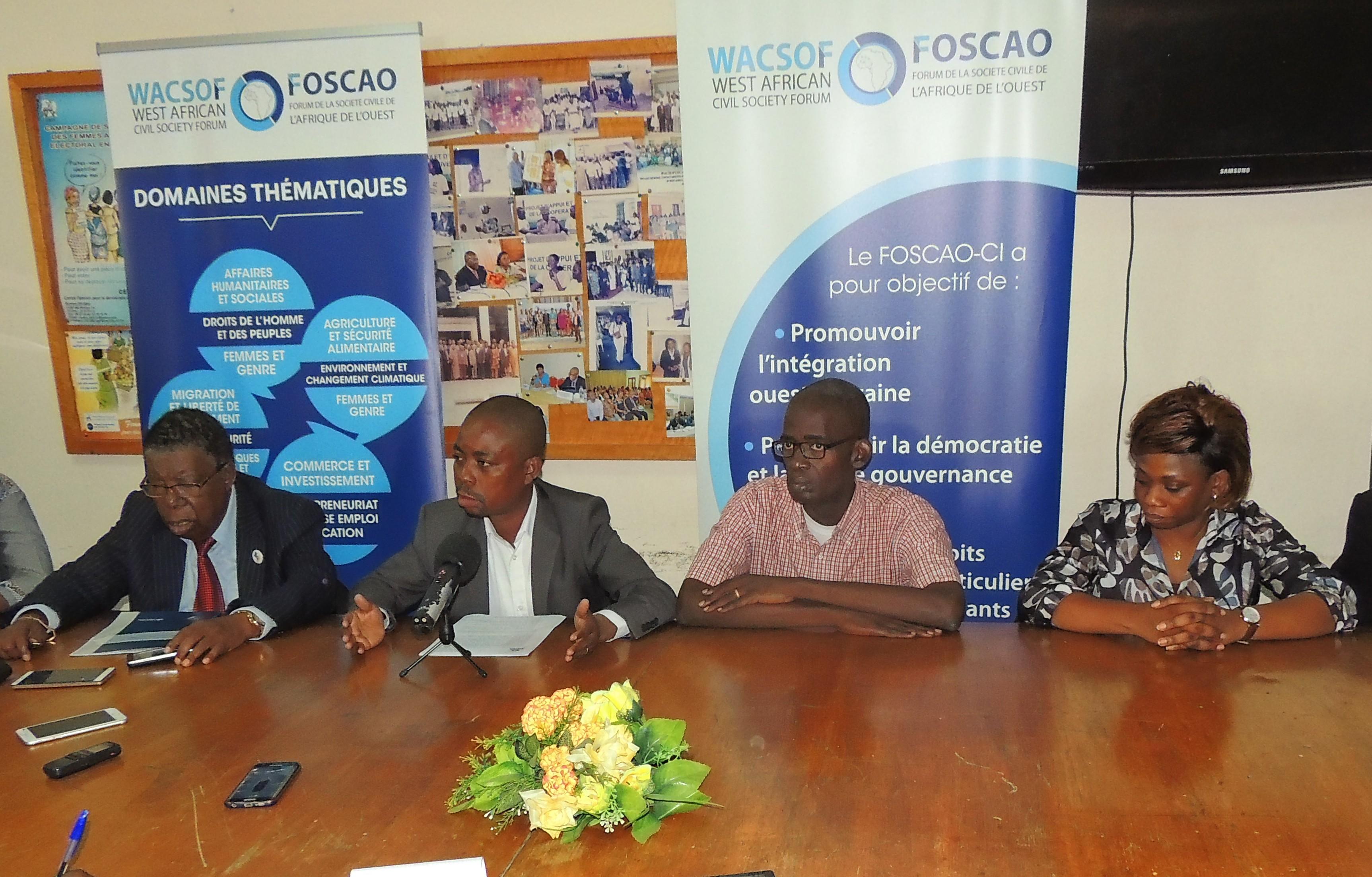 élections de 2020,situation socio-politique,Guillaume Gbato,FOSCAO,Forum de la société covile de l'Afrique de l'Ouest