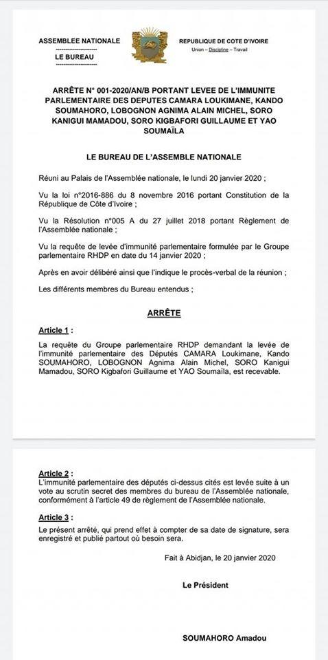 Guillaume Soro,5 députés,immunité parlementaire,levée,Assemblée nationale