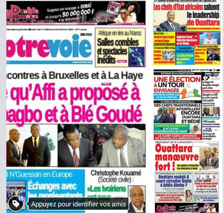 Revue de presse,6 février,CPI,Gbagbo-Affi,Soro
