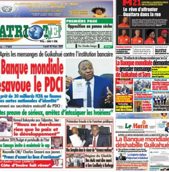 Revue de presse,journaux ivoiriens,CNI,financement,Banque mondiale,concours de la fonction publique