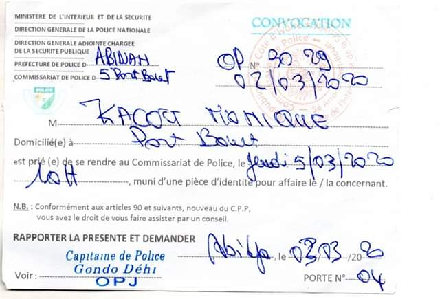 convocation Monique Kacou,press
