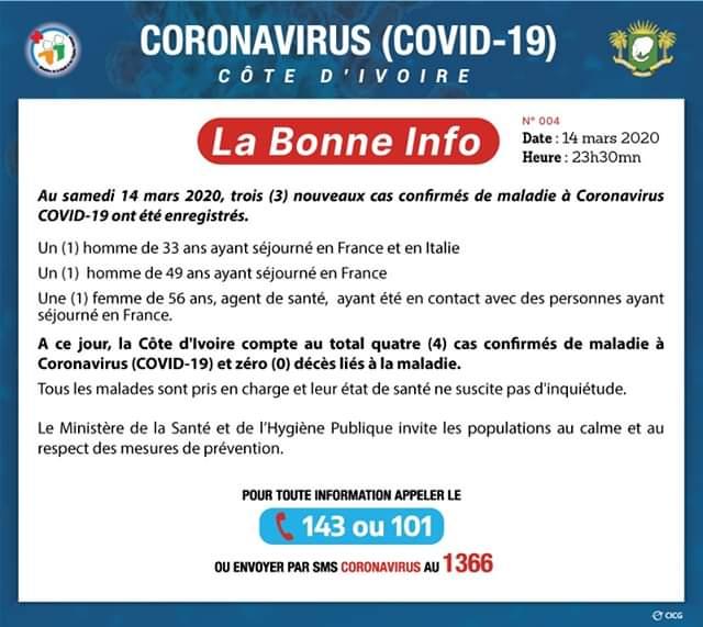 Coronavirus,Trois nouveaux cas