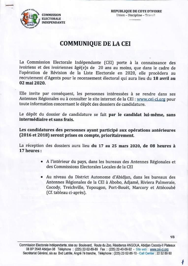 Commission électorale indépendante,CEI,récensement électoral,opération de révision de la liste électorale en 2020
