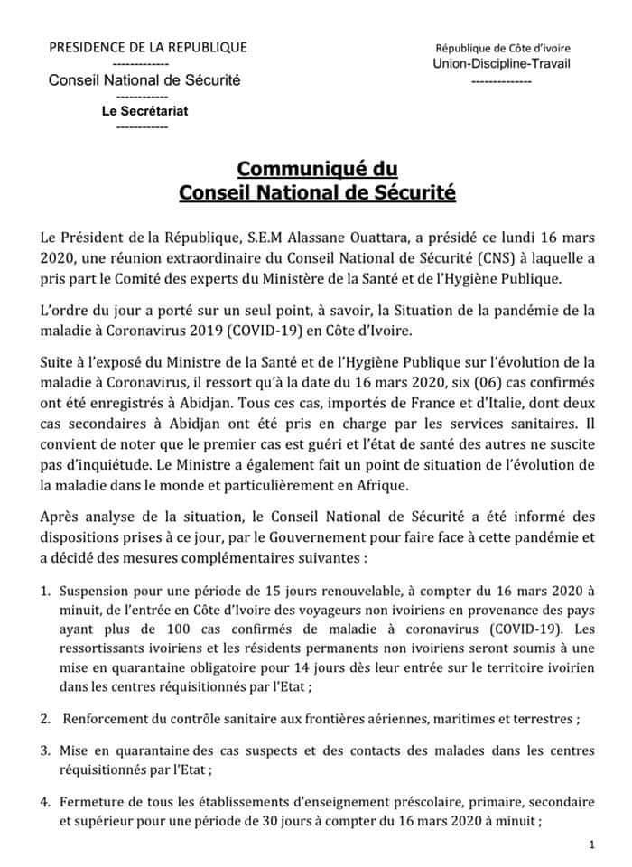 Coronavirus,dispositions,Côte d'Ivoire