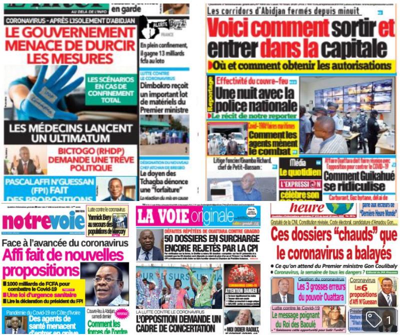 Revue de presse,Coronavirus,Abidjan,Unes