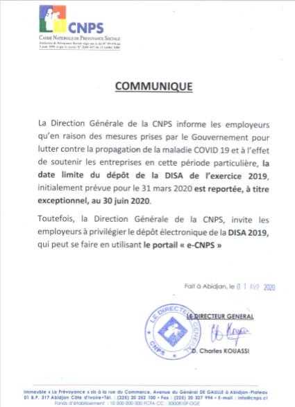CNPS,DISA,Déclaration individuelles de salaires annuels,date limite
