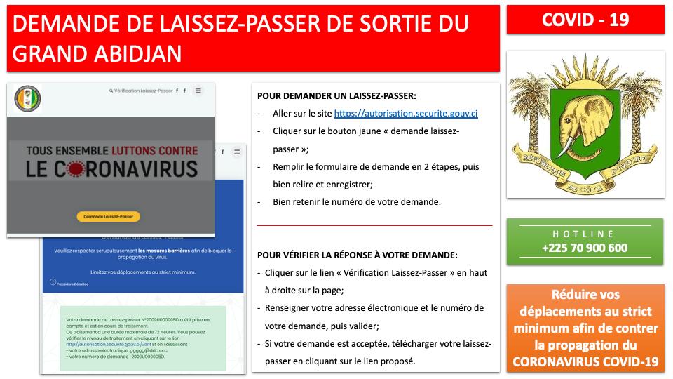 Coronavirus,Demande de laissez-passer,reprise de l'opération