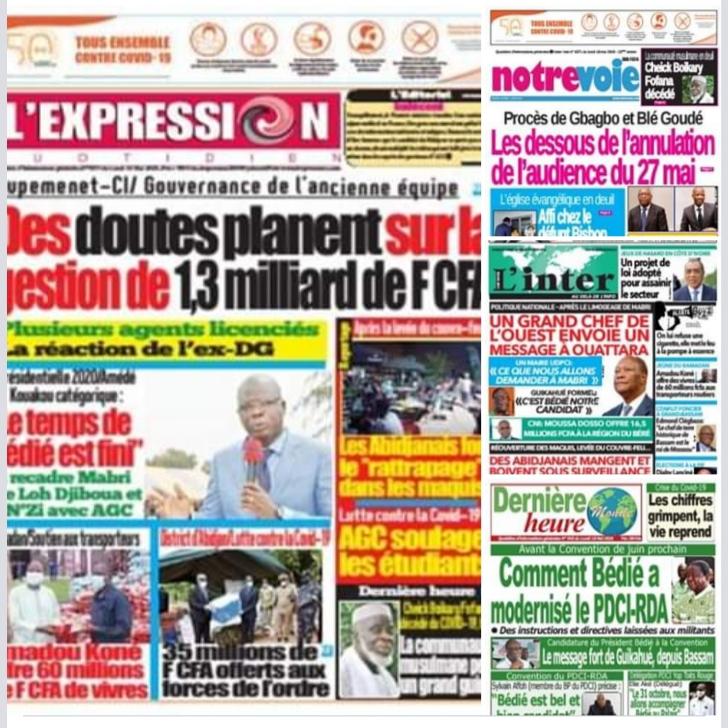 Revue de presse,journaux ivoiriens,politique,levée ducouvre-feu