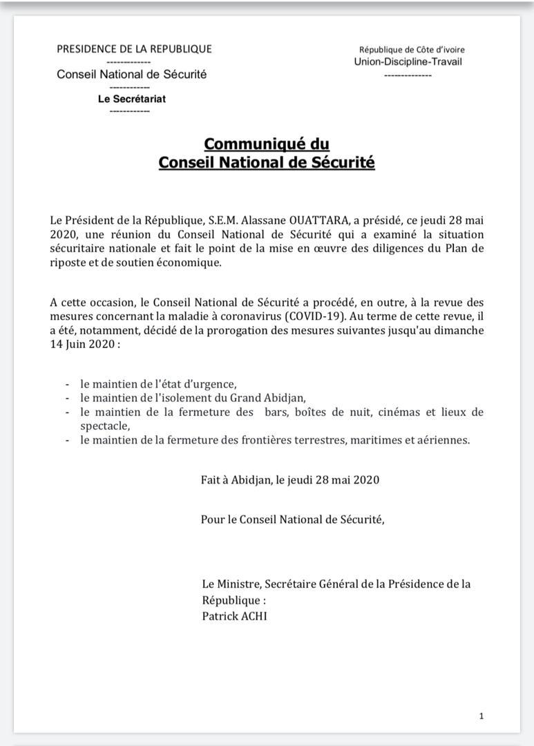 Covid-19,Conseil national de sécurité,CNS,Alassane Ouattara