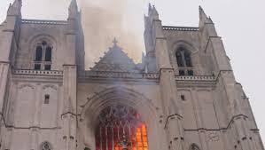 Incendie de la cathédrale de Nantes, France,