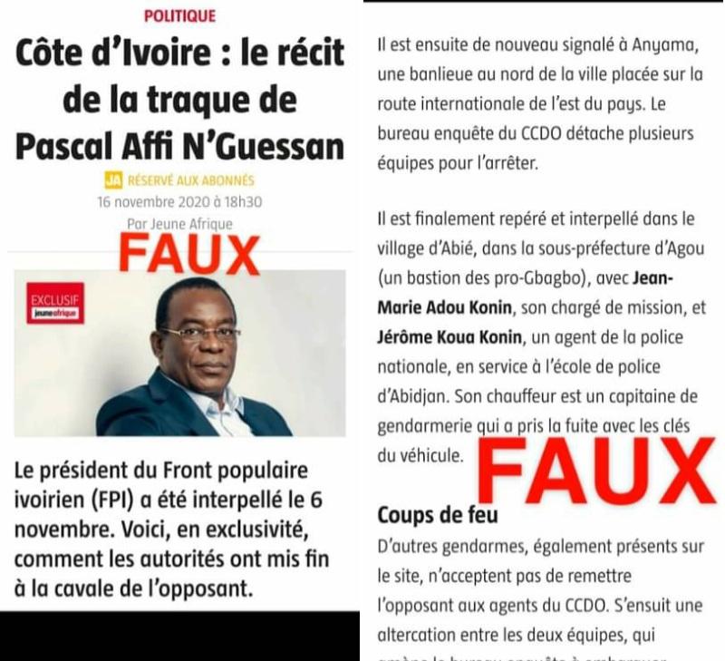 Affi N'Guessan,Arrestation,gendarmerie nationale