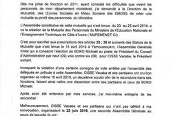 MUPEMENET,Mutuelle,Education nationale,Kandia Camara,Boko Michaël,Cissé Vacaba