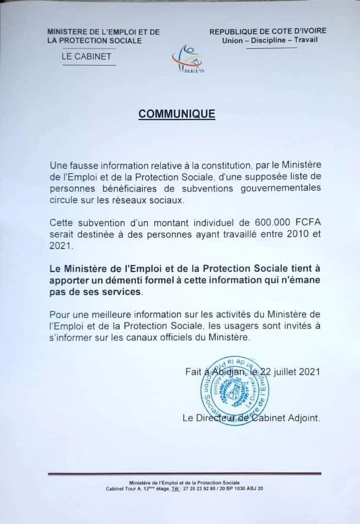 pretendue-liste-de-beneficiaires-de-600-000-fcfa-le-ministere-de-lemploi-et-de-la-protection-sociale-dement